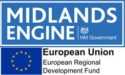 Midlands Engine and European Union Logos on top of each other